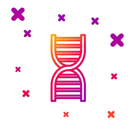 Color line DNA symbol icon isolated on white background. Gradient random dynamic shapes. Vector Illustration