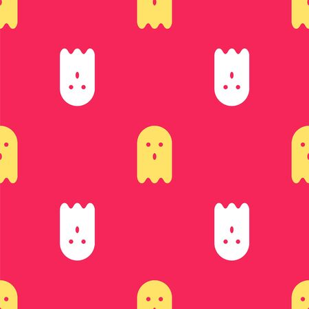 Yellow Ghost icon isolated seamless pattern on red background. Vector Illustration