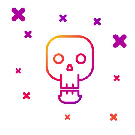 Color line Skull icon isolated on white background. Happy Halloween party. Gradient random dynamic shapes. Vector Illustration