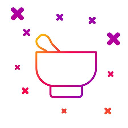 Color line Magic mortar and pestle icon isolated on white background. Gradient random dynamic shapes. Vector Illustration 向量圖像
