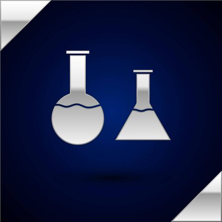 Silver Test tube and flask icon isolated on dark blue background. Chemical laboratory test. Laboratory glassware. Vector Illustration