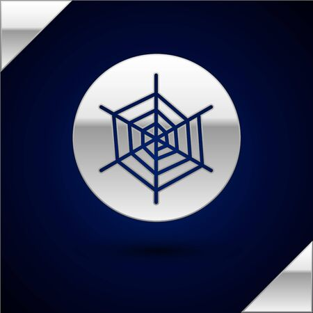Silver Spider web icon isolated on dark blue background. Cobweb sign. Happy Halloween party. Vector Illustration.