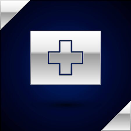 Silver First aid kit icon isolated on dark blue background. Medical box with cross. Medical equipment for emergency. Healthcare concept. Vector Illustration 向量圖像
