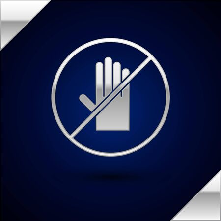 Silver No handshake icon isolated on dark blue background. No handshake for virus prevention concept. Bacteria when shaking hands. Vector Illustration.