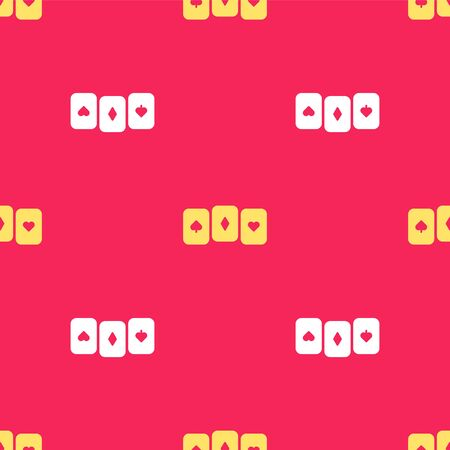 Yellow Playing cards icon isolated seamless pattern on red background. Casino gambling. Vector Illustration