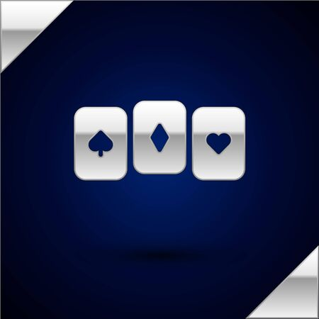 Silver Playing cards icon isolated on dark blue background. Casino gambling. Vector Illustration
