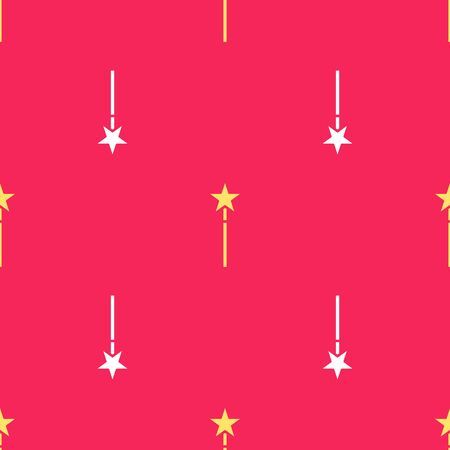 Yellow Magic wand icon isolated seamless pattern on red background. Star shape magic accessory. Magical power. Vector Illustration 向量圖像