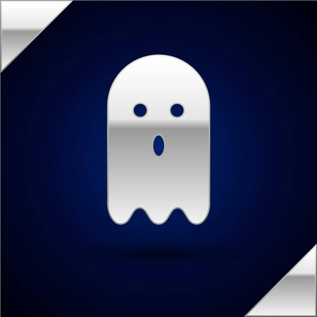 Silver Ghost icon isolated on dark blue background. Vector Illustration