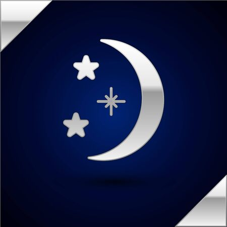 Silver Moon and stars icon isolated on dark blue background. Vector Illustration