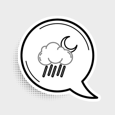 Line Cloud with rain and moon icon isolated on grey background. Rain cloud precipitation with rain drops. Colorful outline concept. Vector. Ilustração