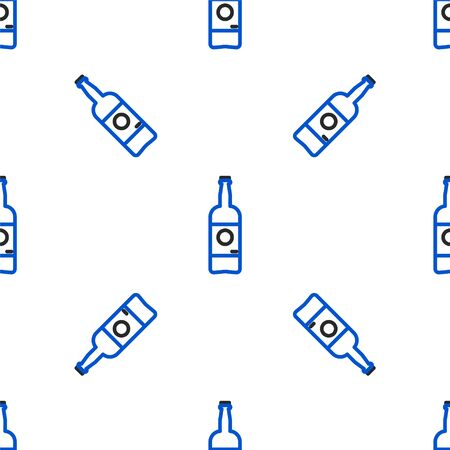Line Beer bottle icon isolated seamless pattern on white background. Colorful outline concept. Vector.