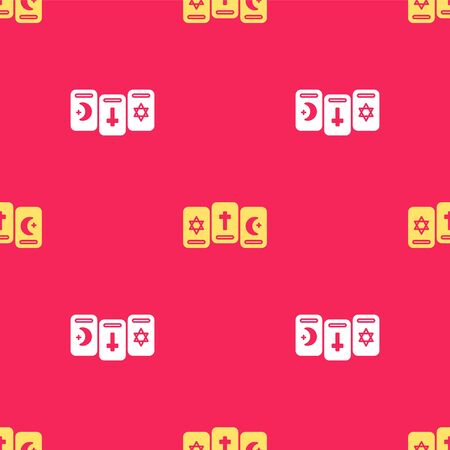 Yellow Three tarot cards icon isolated seamless pattern on red background. Magic occult set of tarot cards. Vector Illustration. 向量圖像