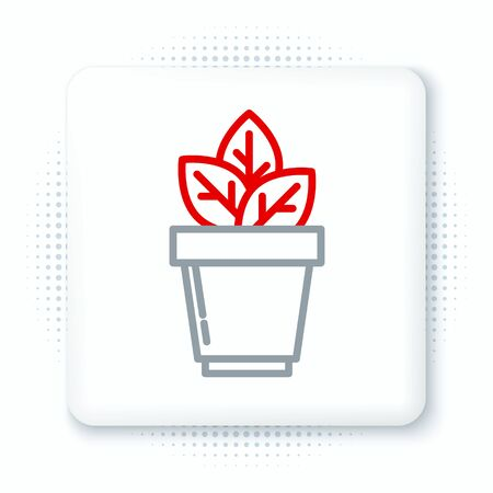 Line Flowers in pot icon isolated on white background. Plant growing in a pot. Potted plant sign. Colorful outline concept. Vector.