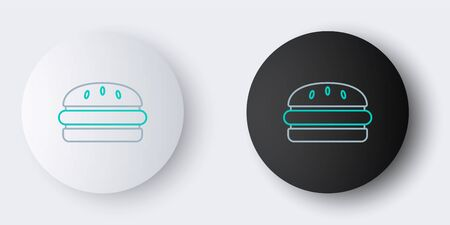 Line Burger icon isolated on grey background. Hamburger icon. Cheeseburger sandwich sign. Fast food menu. Colorful outline concept. Vector. Ilustração