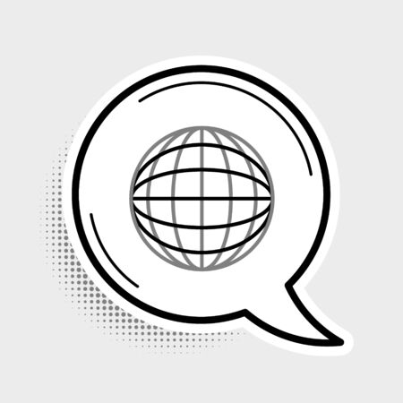 Line Earth globe icon isolated on grey background. World or Earth sign. Global internet symbol. Geometric shapes. Colorful outline concept. Vector. Ilustração