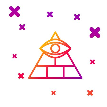 Color line Masons symbol All-seeing eye of God icon isolated on white background. The eye of Providence in the triangle. Gradient random dynamic shapes. Vector Illustration 向量圖像