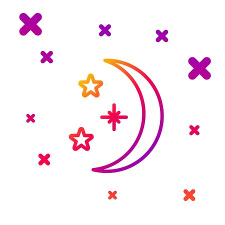 Color line Moon and stars icon isolated on white background. Gradient random dynamic shapes. Vector Illustration