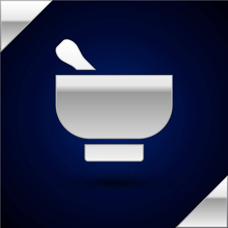 Silver Magic mortar and pestle icon isolated on dark blue background. Vector Illustration 向量圖像