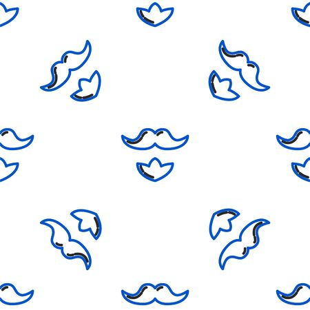 Line Mustache and beard icon isolated seamless pattern on white background. Barbershop symbol. Facial hair style. Colorful outline concept. Vector