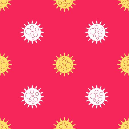 Yellow Virus icon isolated seamless pattern on red background. Corona virus 2019-nCoV. Bacteria and germs, cell cancer, microbe, fungi. Vector Illustration 向量圖像