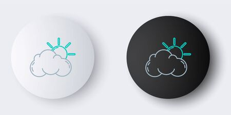 Line Sun and cloud weather icon isolated on grey background. Colorful outline concept. Vector Ilustração