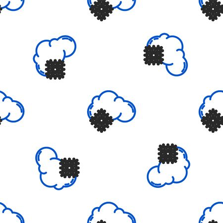 Line Cloud with snow icon isolated seamless pattern on white background. Cloud with snowflakes. Single weather icon. Snowing sign. Colorful outline concept. Vector Ilustracja