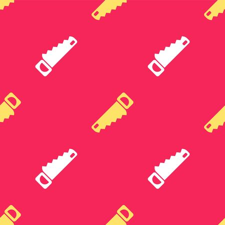 Yellow Hand saw icon isolated seamless pattern on red background. Vector Illustration 向量圖像