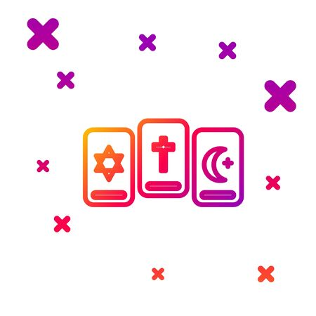 Color line Three tarot cards icon isolated on white background. Magic occult set of tarot cards. Gradient random dynamic shapes. Vector Illustration 向量圖像