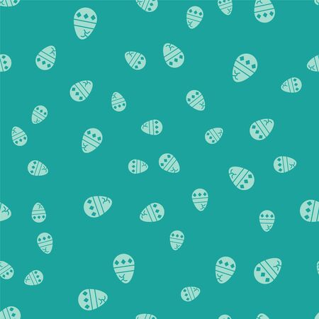 Green Cracked egg icon isolated seamless pattern on green background. Happy Easter. Vector Illustration 向量圖像