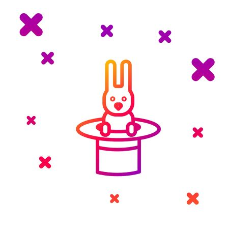 Color line Magician hat and rabbit icon isolated on white background. Magic trick. Mystery entertainment concept. Gradient random dynamic shapes. Vector Illustration