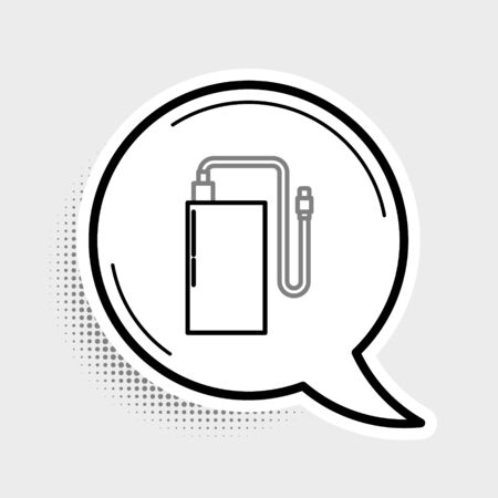 Line Power bank with different charge cable icon isolated on grey background. Portable charging device. Colorful outline concept. Vector