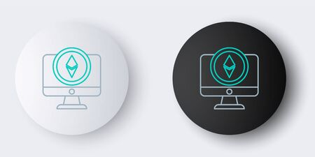 Line Monitor and Cryptocurrency coin Ethereum ETH icon isolated on grey background. Altcoin symbol. Blockchain based secure crypto currency. Colorful outline concept. Vector