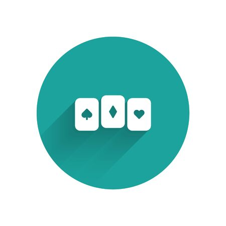 White Playing cards icon isolated with long shadow. Casino gambling. Green circle button. Vector Illustration. Ilustrace