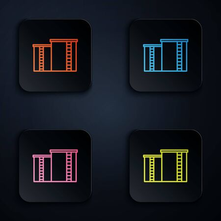Color neon line Oil and gas industrial factory building icon isolated on black background. Set icons in square buttons. Vector Illustration. Standard-Bild - 147801998