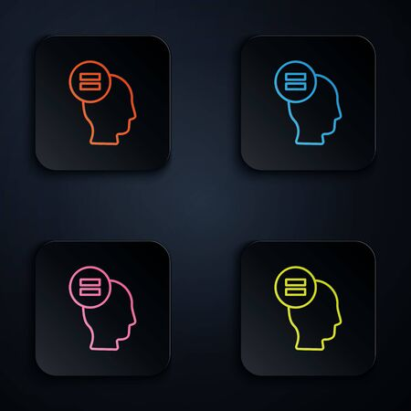 Color neon line Test or exam sheet icon isolated on black background. Test paper, exam or survey concept. Set icons in square buttons. Vector Illustration.