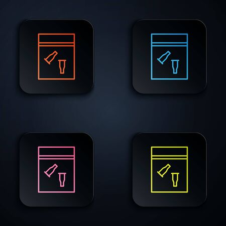 Color neon line Evidence bag and bullet icon isolated on black background. Set icons in square buttons. Vector Illustration.