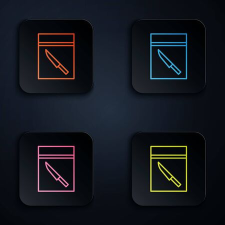Color neon line Evidence bag and knife icon isolated on black background. Set icons in square buttons. Vector Illustration. Çizim