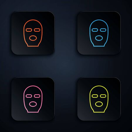 Color neon line Thief mask icon isolated on black background. Bandit mask, criminal man. Set icons in square buttons. Vector Illustration. Çizim