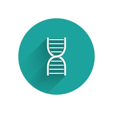 White DNA symbol icon isolated with long shadow. Green circle button. Vector Illustration