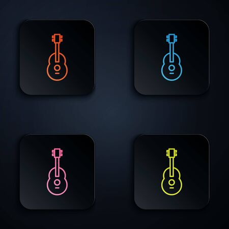 Color neon line Guitar icon isolated on black background. Acoustic guitar. String musical instrument. Set icons in square buttons. Vector Illustration. Ilustracja