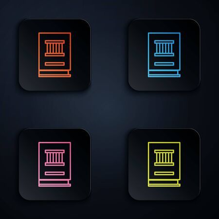 Color neon line Law book icon isolated on black background. Legal judge book. Judgment concept. Set icons in square buttons. Vector Illustration.