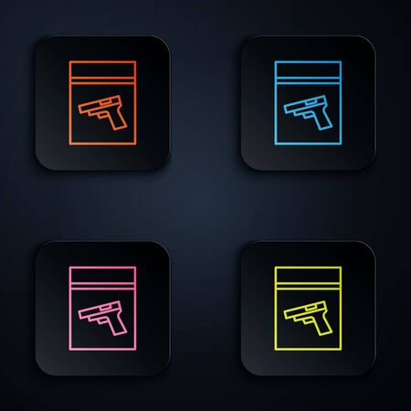 Color neon line Evidence bag and pistol or gun icon isolated on black background. Set icons in square buttons. Vector Illustration.