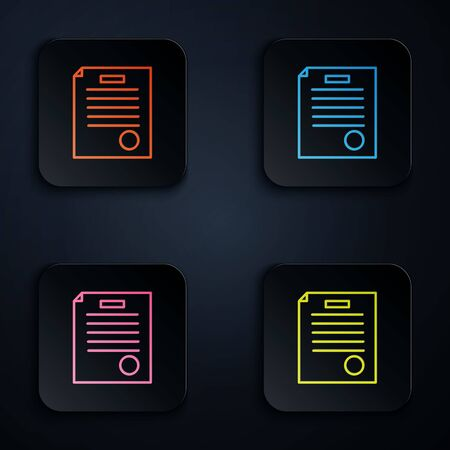 Color neon line The arrest warrant icon isolated on black background. Warrant, police report, subpoena. Justice concept. Set icons in square buttons. Vector Illustration. Illustration