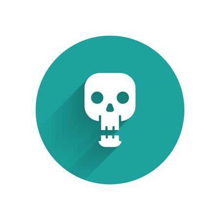 White Skull icon isolated with long shadow. Happy Halloween party. Green circle button. Vector Illustration.