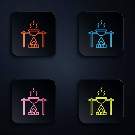Color neon line Campfire and pot icon isolated on black background. Fire camping cooking in cauldron on firewood and flame. Set icons in square buttons. Vector Illustration.