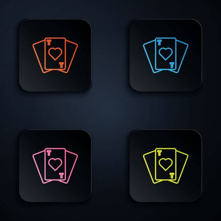 Color neon line Playing cards icon isolated on black background. Casino gambling. Set icons in square buttons. Vector Illustration.