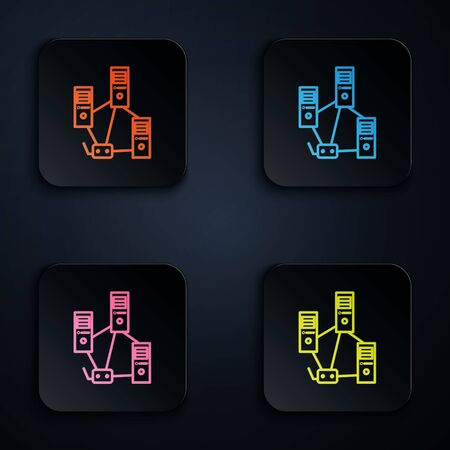 Color neon line Computer network icon isolated on black background. Laptop network. Internet connection. Set icons in square buttons. Vector Illustration.