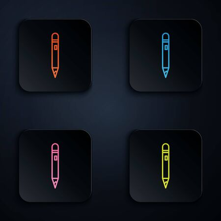 Color neon line Pencil with eraser icon isolated on black background. Drawing and educational tools. School office symbol. Set icons in square buttons. Vector Illustration.