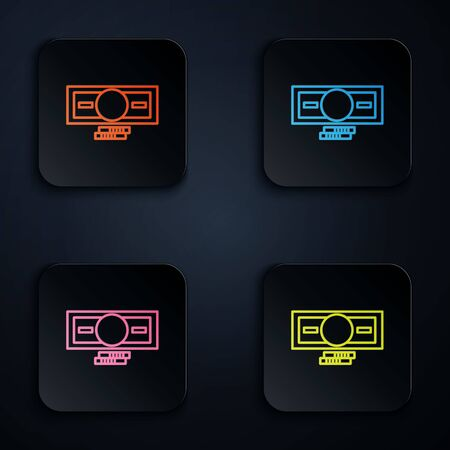Color neon line Stacks paper money cash icon isolated on black background. Money banknotes stacks. Bill currency. Set icons in square buttons. Vector Illustration.