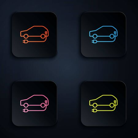 Color neon line Electric car and electrical cable plug charging icon isolated on black background. Renewable eco technologies. Set icons in square buttons. Vector Illustration.